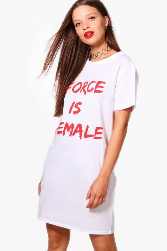 "Steph Kleid mit ""Force is Female""-Slogan"