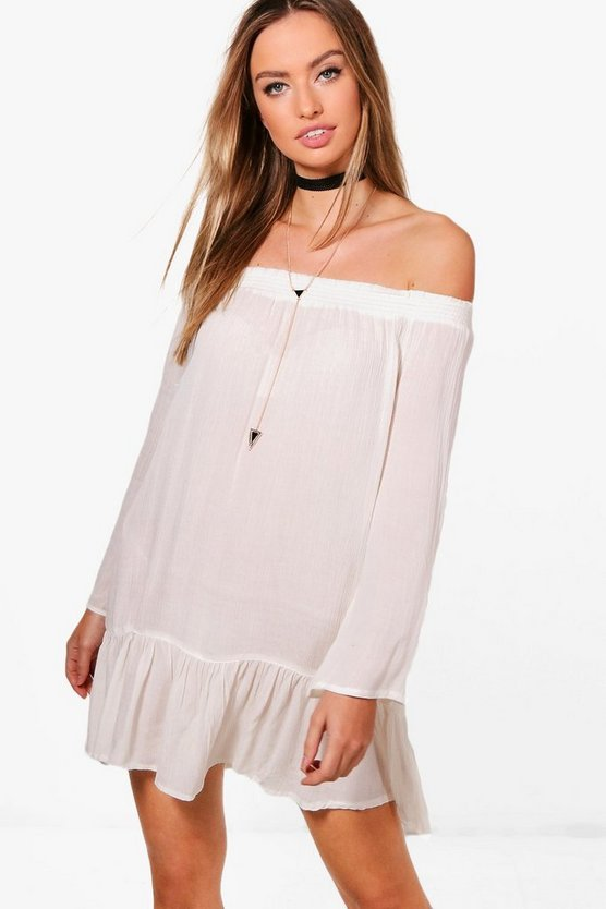 Hannah Flute Sleeve Off The Shoulder Dress