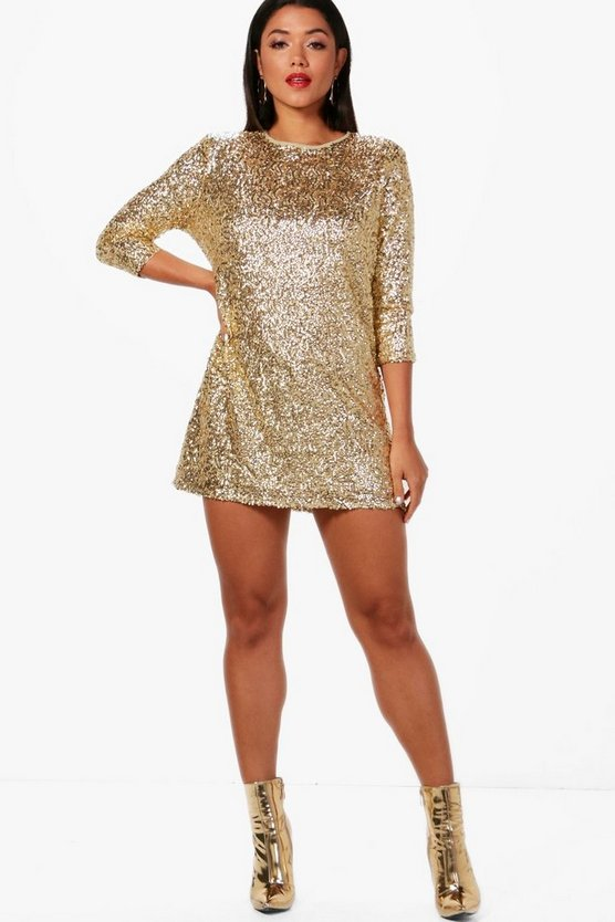 Boutique Ellie Sequin Long Sleeve Shift Dress