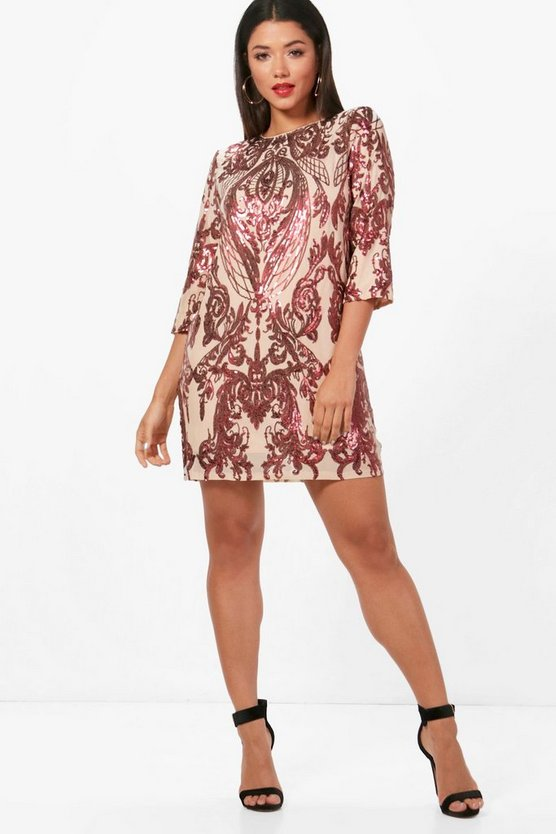 Boutique Emily Sequin Print ¾ Sleeve Shift Dress