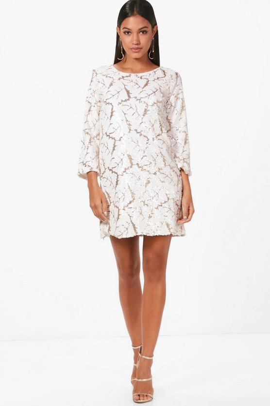 Boutique Hannah Sequin ¾ Sleeve Shift Dress