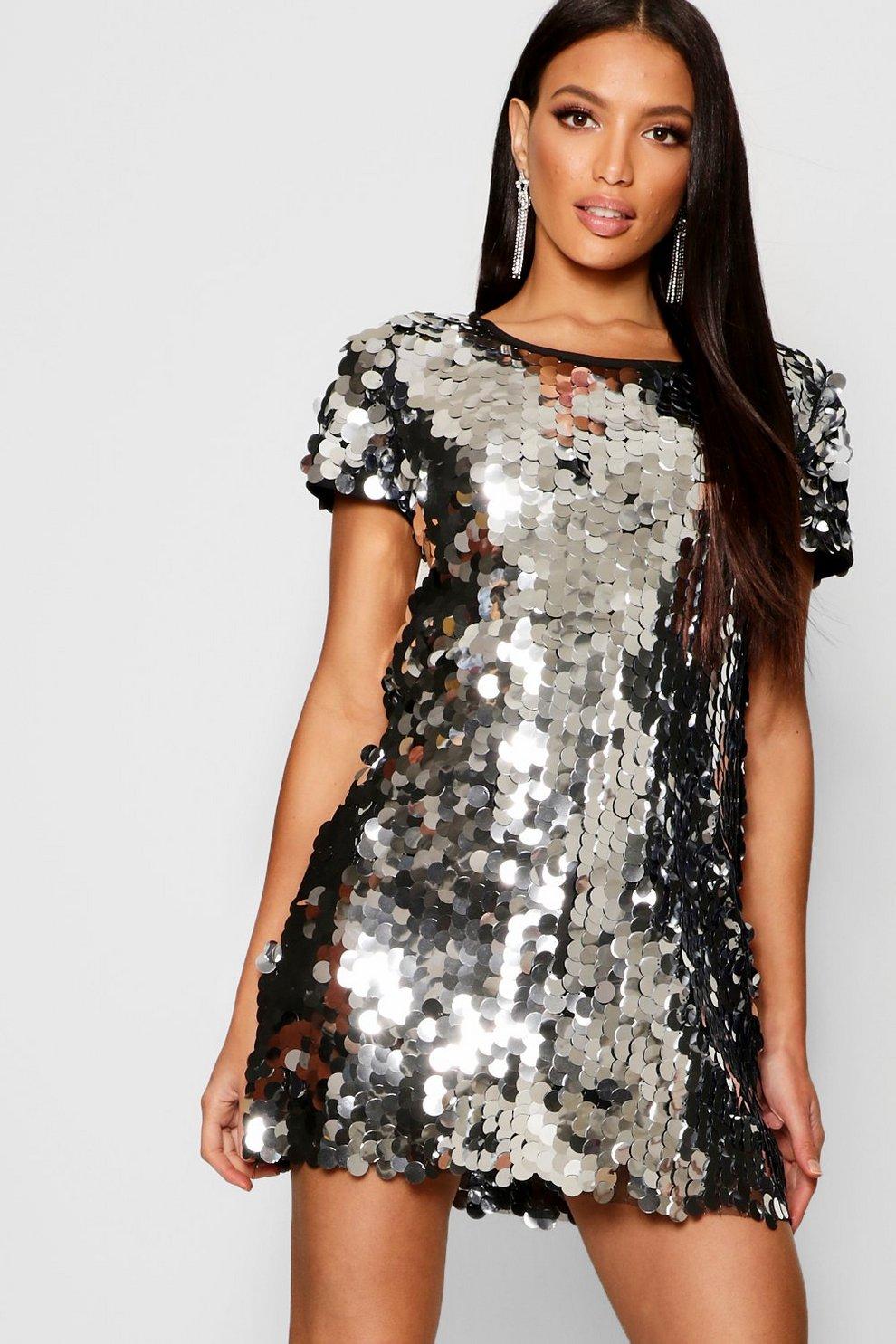 Boohoo Plus Sequin Disk Shift Dress Sale Cheap Prices wPijP49UXu