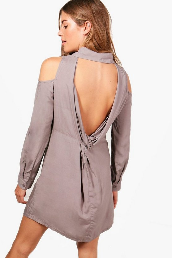 Ashley Cold Shoulder Twist Back Shirt Dress