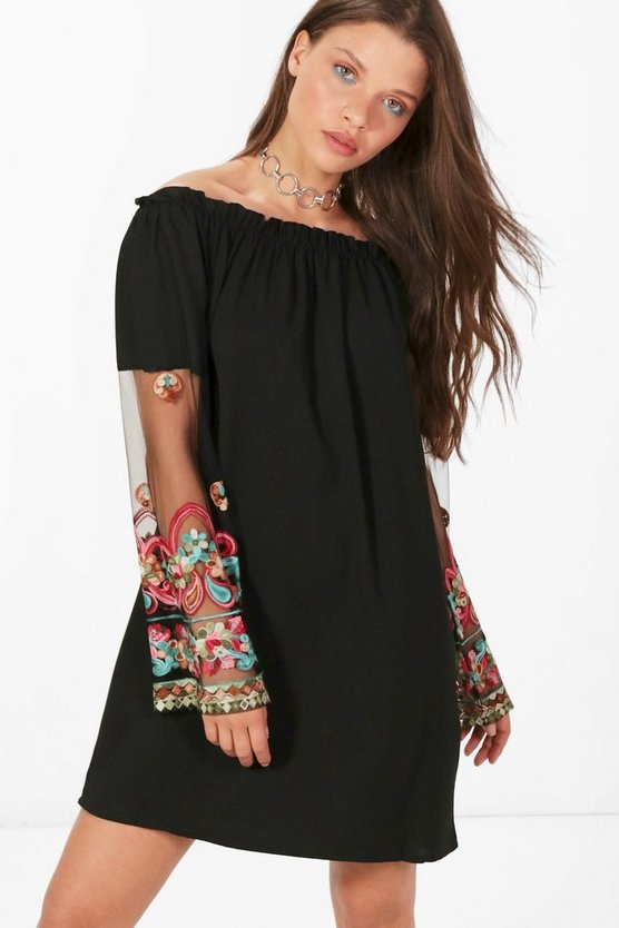 Em Off Shoulder Embroidered Sleeve Shift Dress