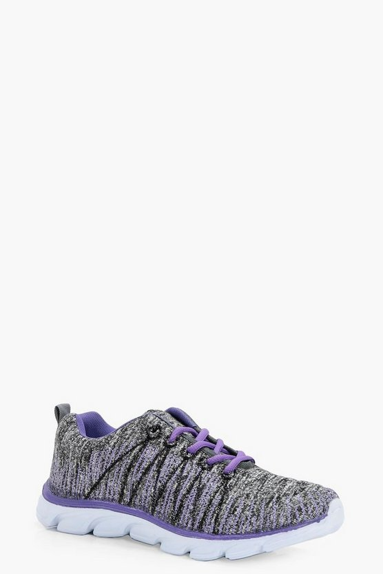 Paige Knitted Lace up Sports Trainer