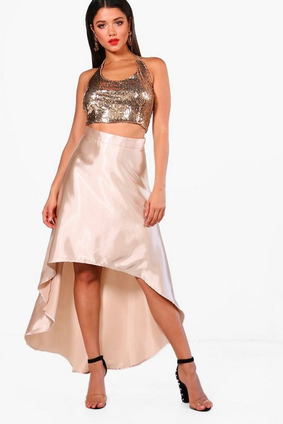 Kate Sequin Crop and Satin Skirt Co-Ord Set