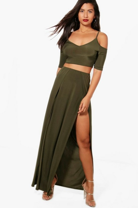 Lilly Slinky Crop and Split Maxi Skirt Co-Ord Set