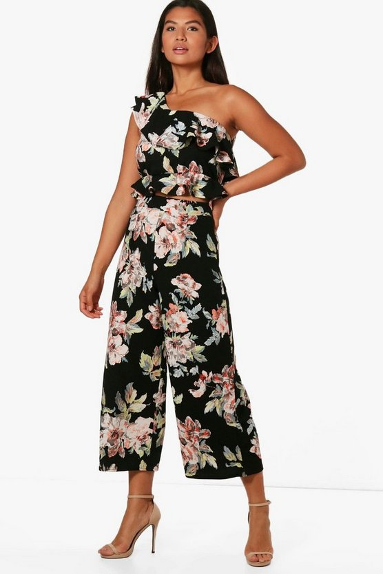 Rebecca Floral Frill Crop and Culotte Co-Ord Set