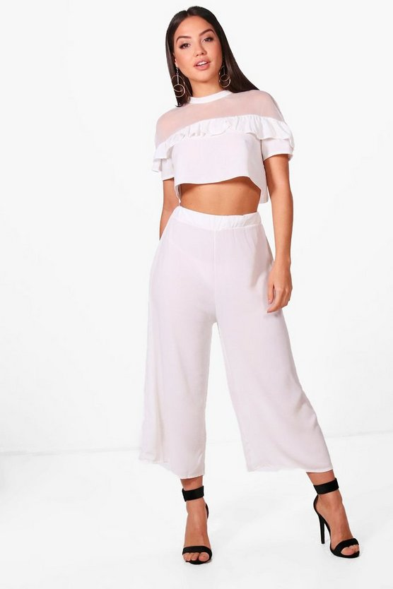 Nina Woven Frill Crop and Culotte Co-ord