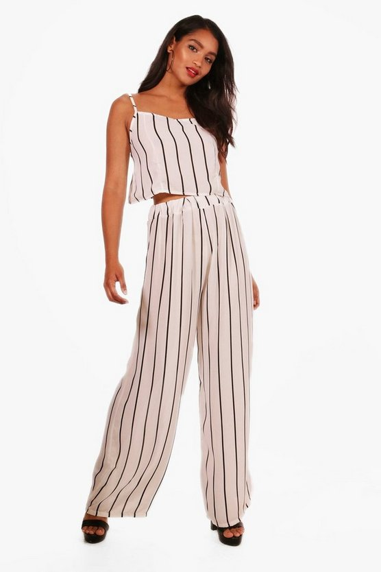 Stripe Woven Crop and Wide Leg Trouser