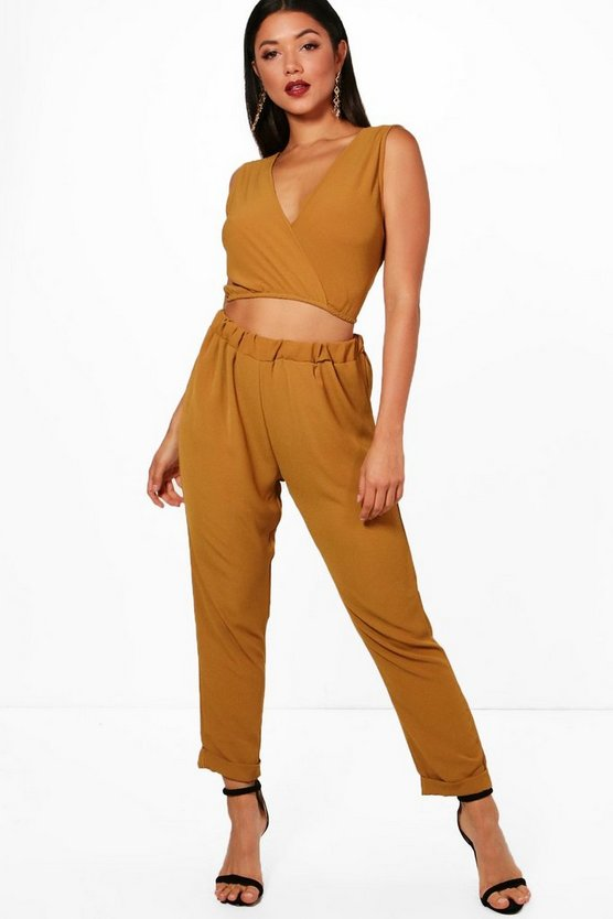 Belle Wrap Crop and Trouser Co-ord Set