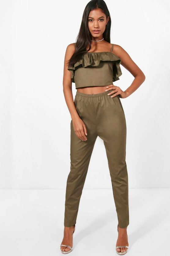 Woven Off Shoulder Crop and Trouser