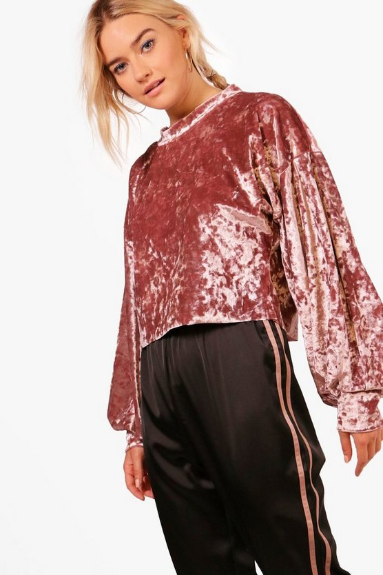 Amy Velvet Balloon Sleeve Crop Sweat