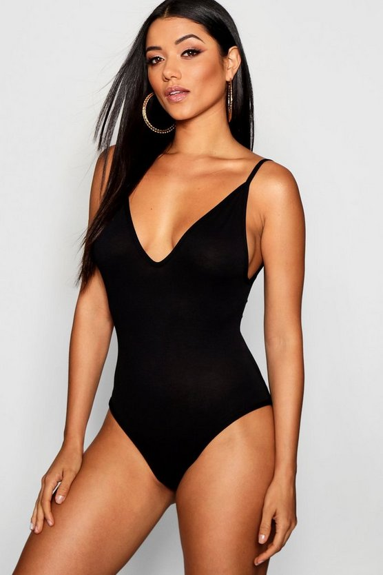 Basic V Neck Strappy Bodysuit