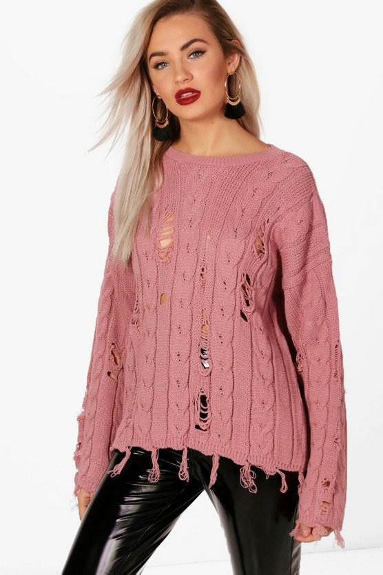Holly Distressed Cable Jumper