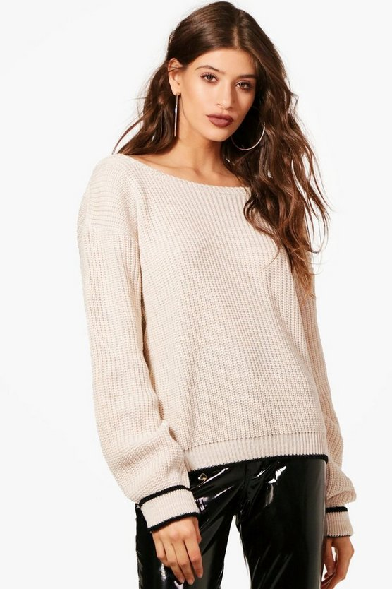Kacy Turn Up Cuff Slash Neck Jumper
