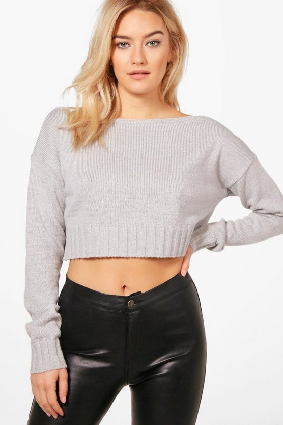 Freya Soft Knit Off The Shoulder Crop Jumper