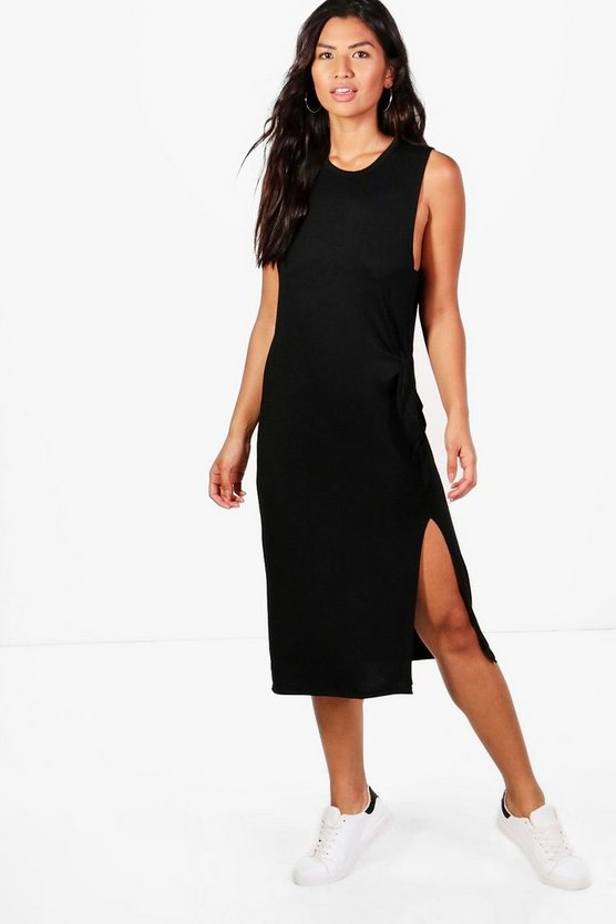Rosie Ruched Tie Split Front Midi Dress