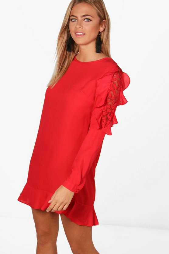 Hannah Lace and Ruffle Shift Dress