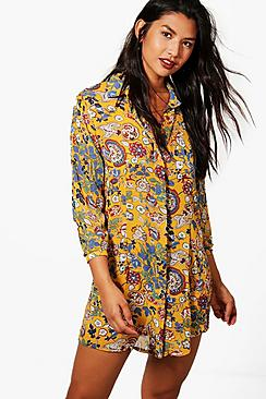 boohoo female lucinda floral shirt dress