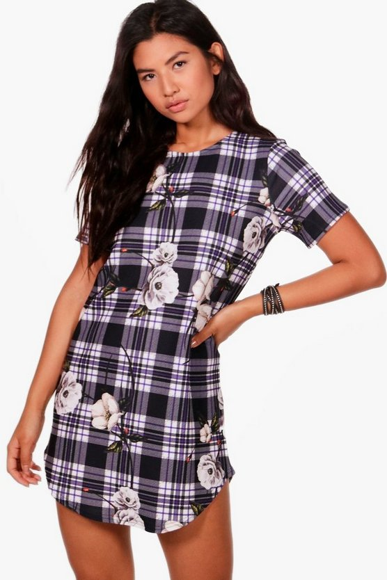 Milly Check & floral Detail Cap Sleeve Shift Dress
