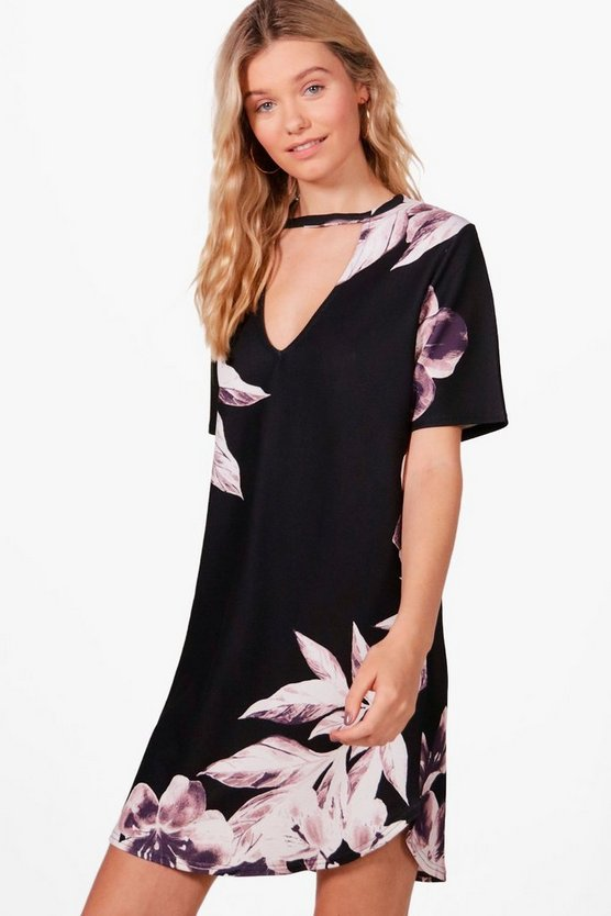 Holly Floral Curved Hem Choker Shift Dress
