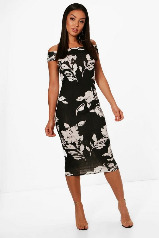 Ellie Floral Off Shoulder Midi Dress