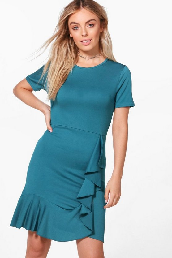 Abbey Frill Detail Wrap Shirt Bodycon Dress