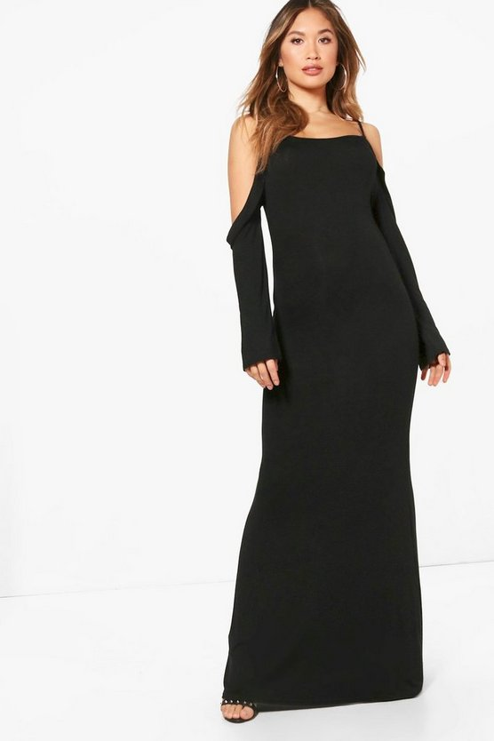 Leanne Cold Shoulder Frill Detail Maxi Dress