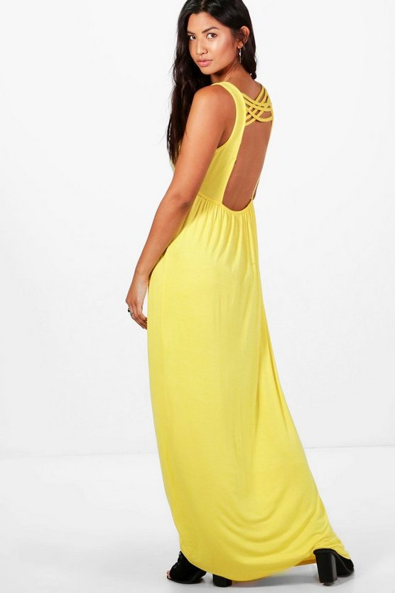 Megan Plunge Front Open Back Maxi Dress