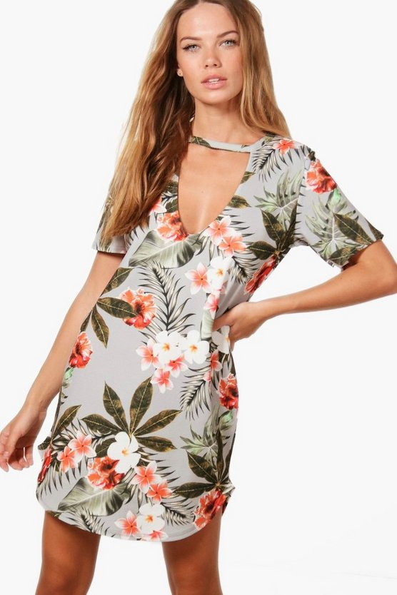 Elia Tropical Curved Hem Shift Dress