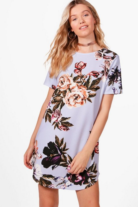 Mae Floral Printed Curve Hem Shift Dress