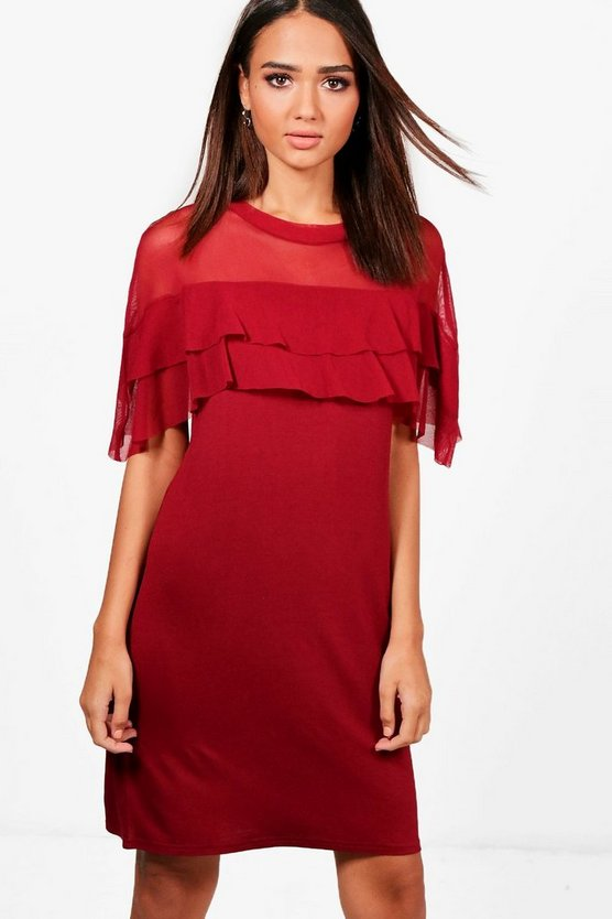Laura Mesh Ruffle Shift Dress