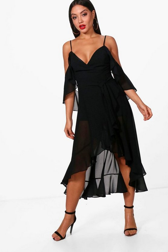 Chiffon Frill Cold Shoulder Skater Dress