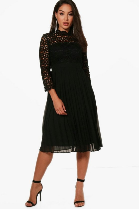 Emily Lace Top Pleated Midi Skater Dress