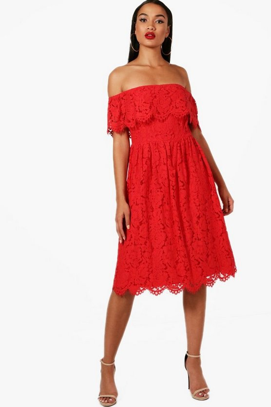 Poppy Eyelash Lace off The Shoulder Skater Dress