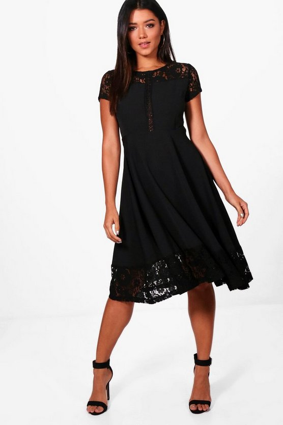 Lace Panelled Cap Sleeve Skater Dress