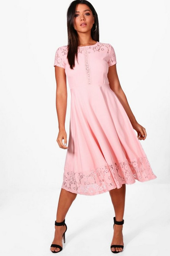 Laura Lace Panelled Cap Sleeve Skater Dress