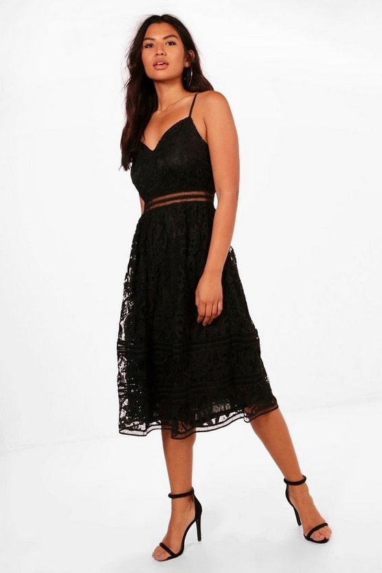 Lace Trim Detail Midi Skater Dress