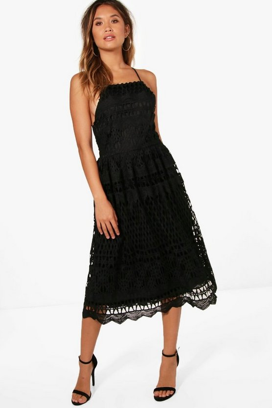 Lace Strappy Back Midi Skater Dress