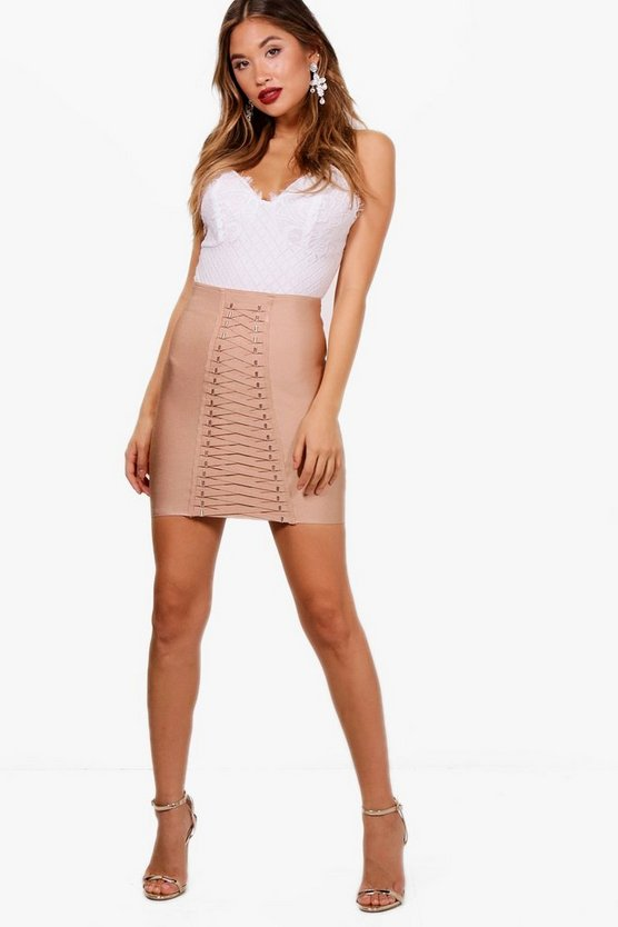 Maisy Premium Heavy Bandage Lace Up Mini Skirt