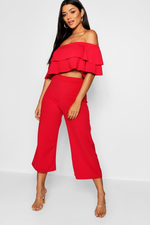 Womens Zweiteiler mit Off-Shoulder Bluse und Culottes - red - 34, Red - Boohoo.com