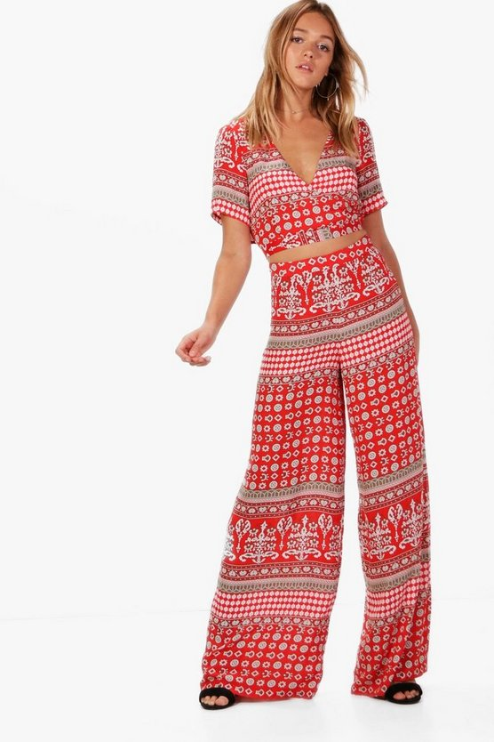 Rosie Woven Boarder Crop and Culotte Co-ord