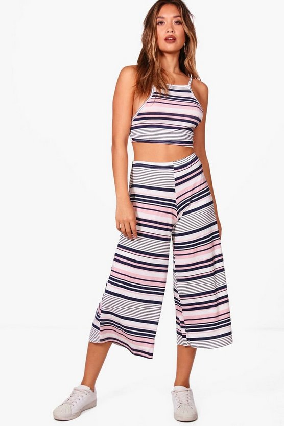 Huda Stripe Culotte and Strappy Crop Co-ord