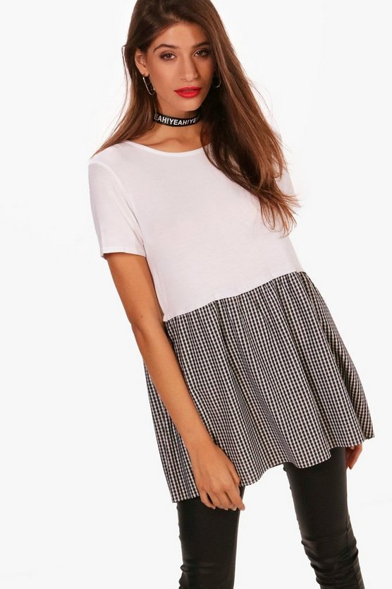 Molly Gingham Ruffle Hem T-Shirt