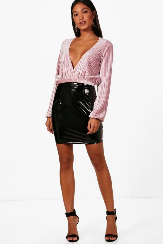 Amelia Slouchy Wrap Front Long Sleeve Velvet Crop