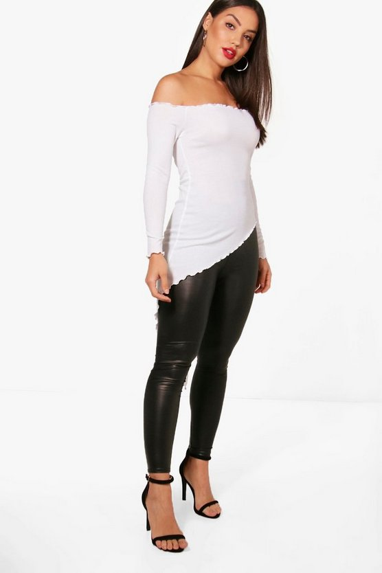 Narrindar Rib Off The Shoulder Asymmetric Top