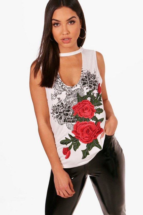 Holly Printed Embroidered Choker Vest