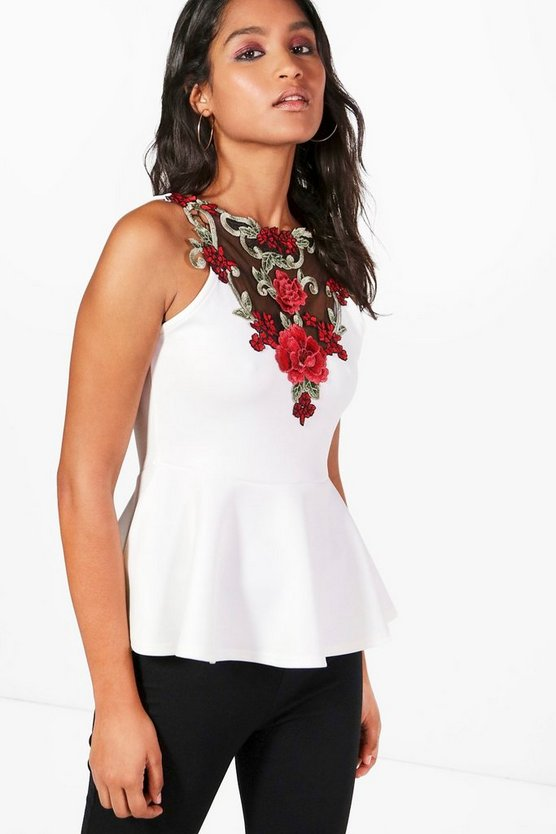 Emy Embroidered Scuba Peplum