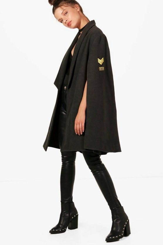Alicia Wool Military Cape With Badges